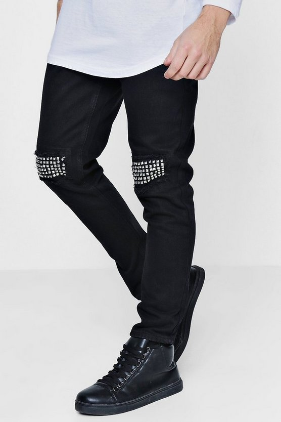 Black Skinny Fit Jeans With Studded Details