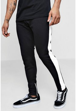 Mens White Slim Fit Jogger With Panel