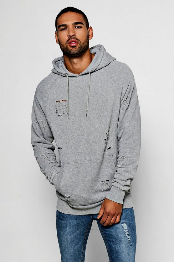 Over The Head Distressed Hoodie With Enzyme Wash