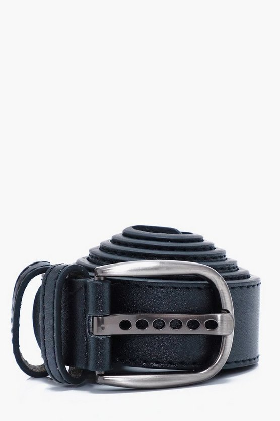 Black Faux Leather Belt With Double Holder