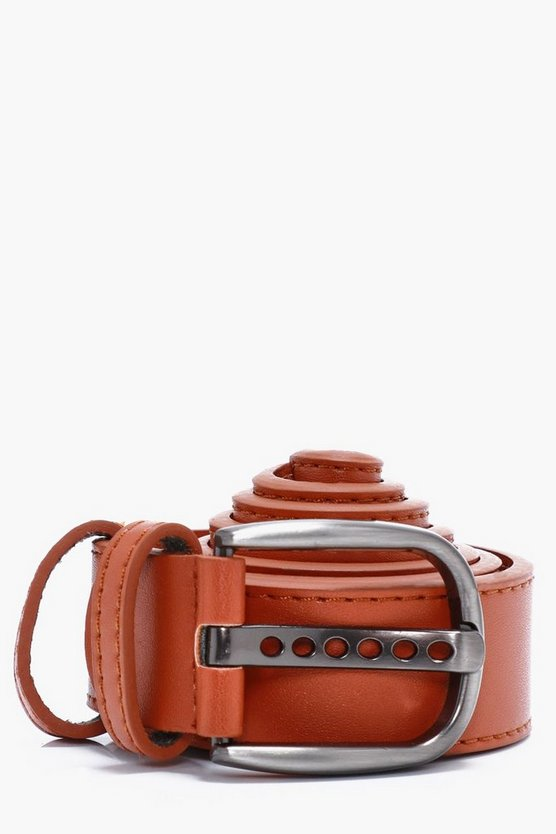 Tan Faux Leather Belt With Double Holder