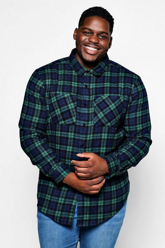 Big And Tall Double Pocket Flannel Check Shirt