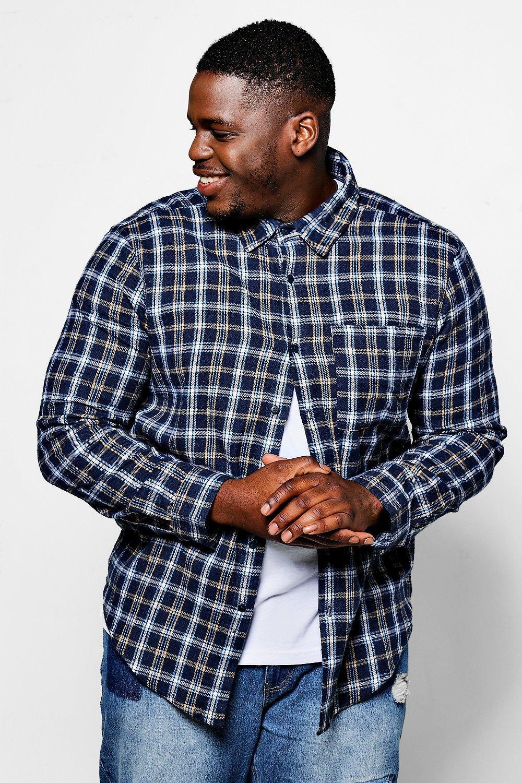 Big And Tall Blushed Check Shirt Zip Detail