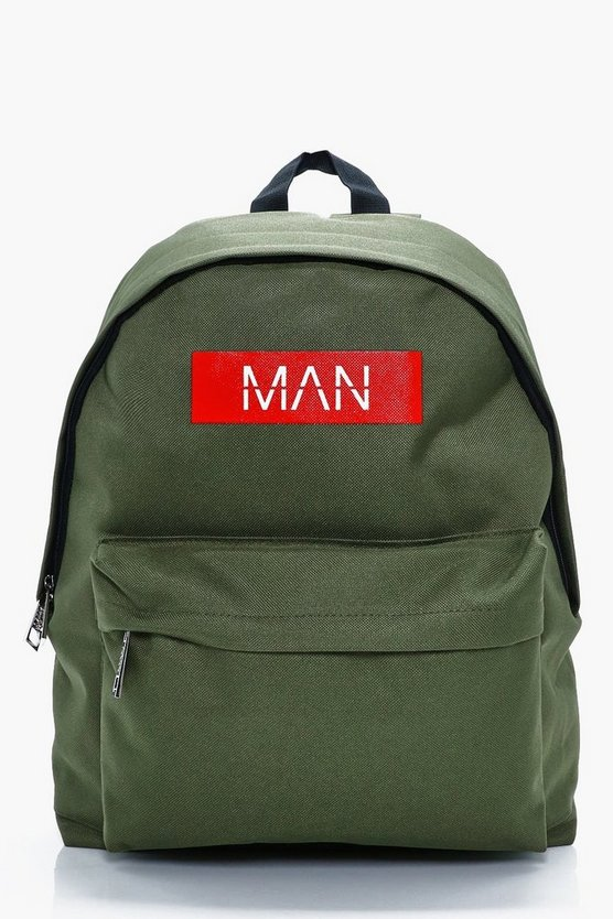 Mens Khaki MAN Print Back Pack