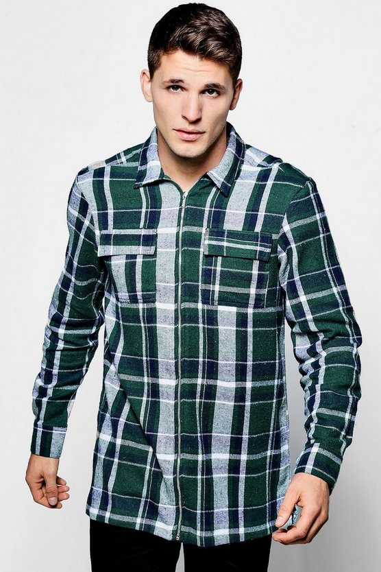 Long Sleeve Check Flannel Zip Shacket