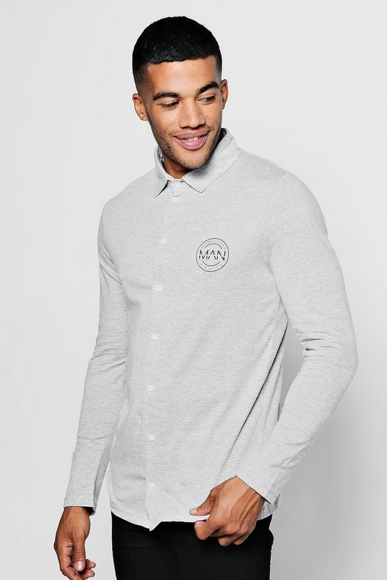 Mens Grey Long Sleeve Jersey Shirt With MAN Logo