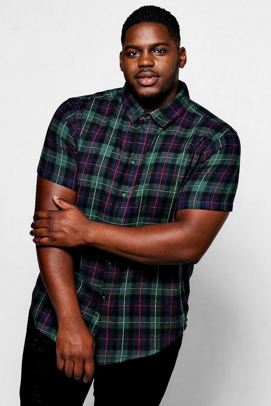Big And Tall Green Check Short Sleeve Shirt