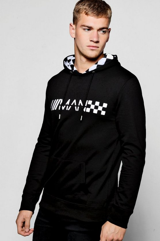 MAN Hoodie With Checkerboard Print