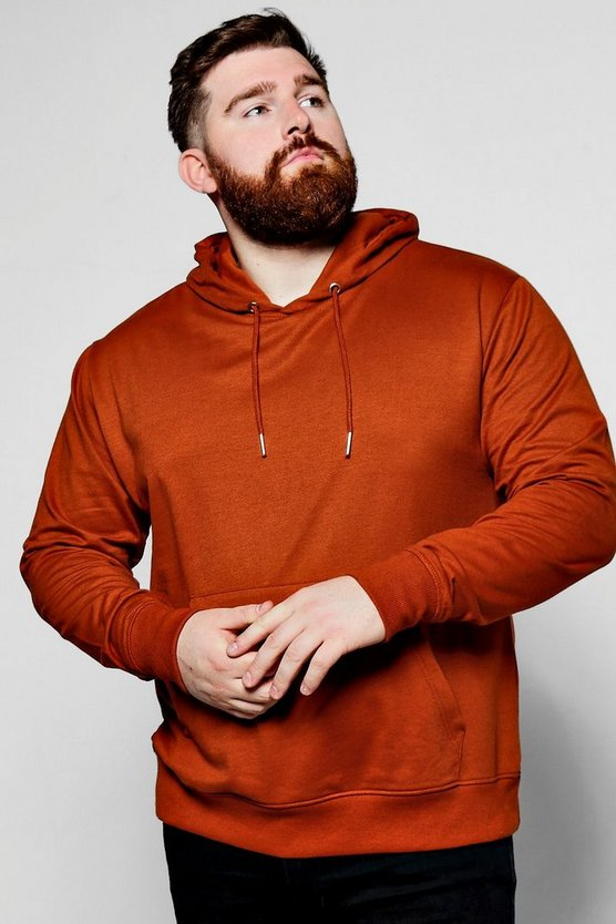 Mens Rust Big And Tall Over The Head Hoodie