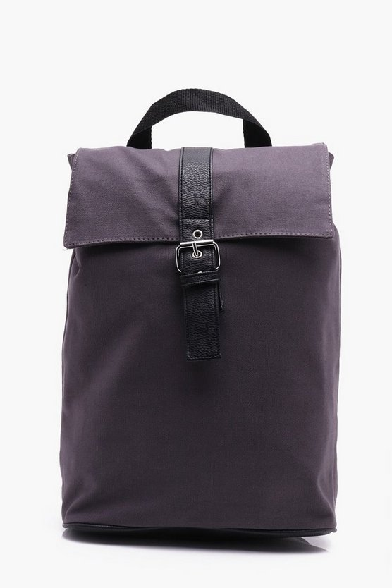 Grey Roll Top Backpack
