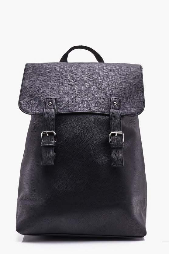 Black PU Fold Over Strap Backpack