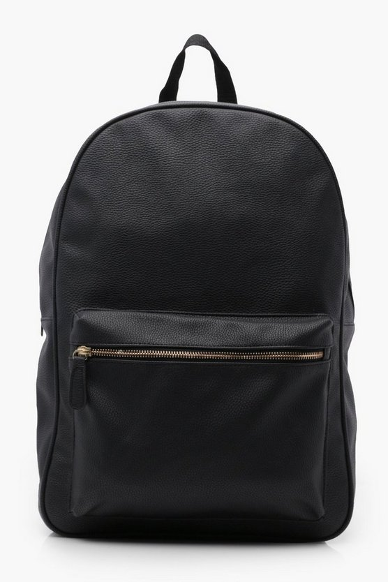 Black PU Backpack With Oversize Zip