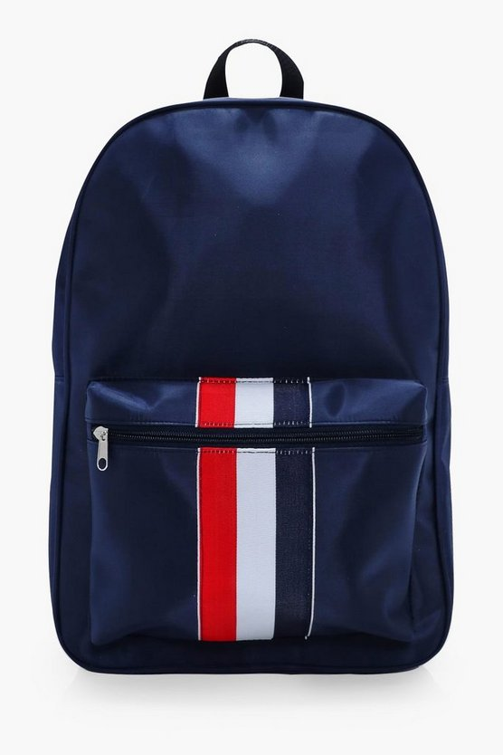 Navy Nylon Contrast Stripe Backpack