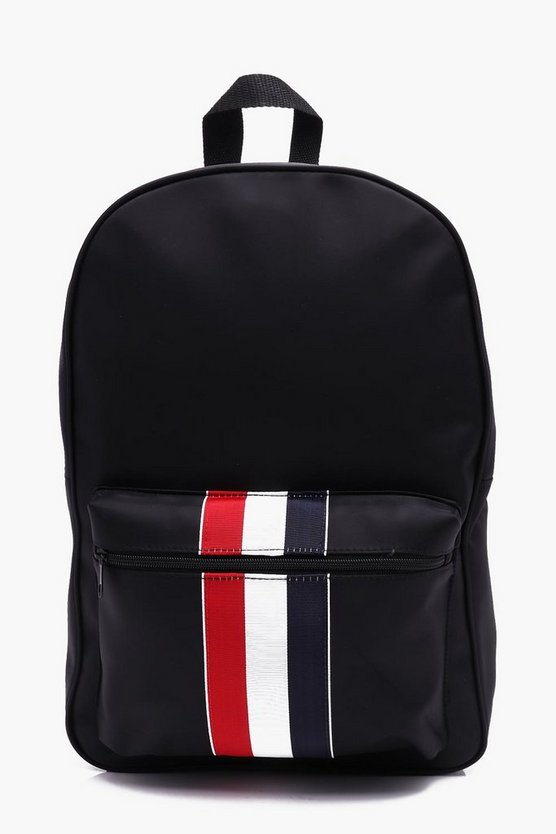 Black Nylon Contrast Stripe Backpack