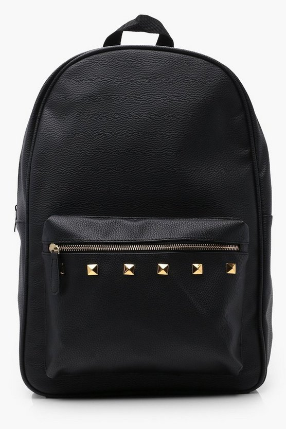 Black PU Backpack With Gold Studs