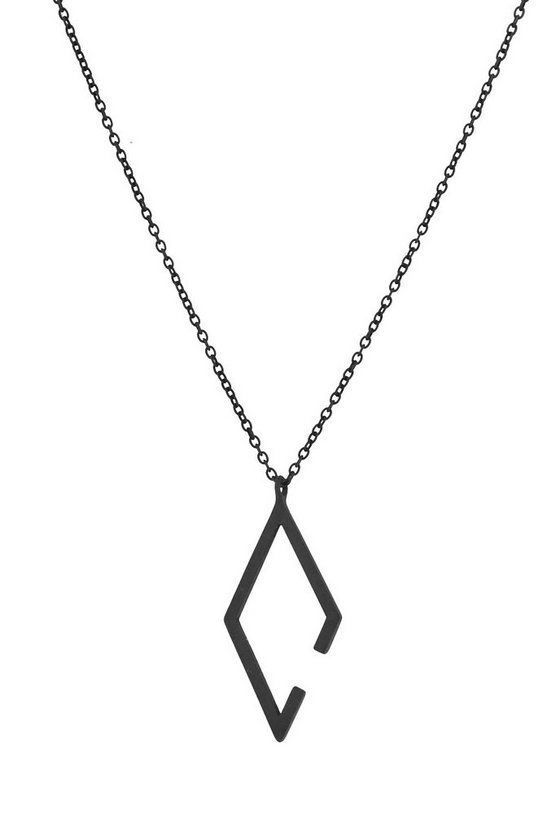 Matte Black Geometric Necklace