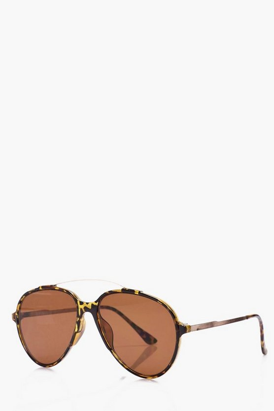 Tortoiseshell Aviator Sunglasses, Brown, Uomo