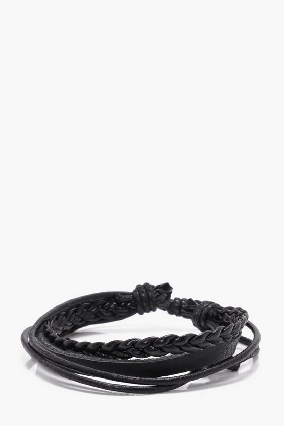 Black Leather Multi Brand Bracelet