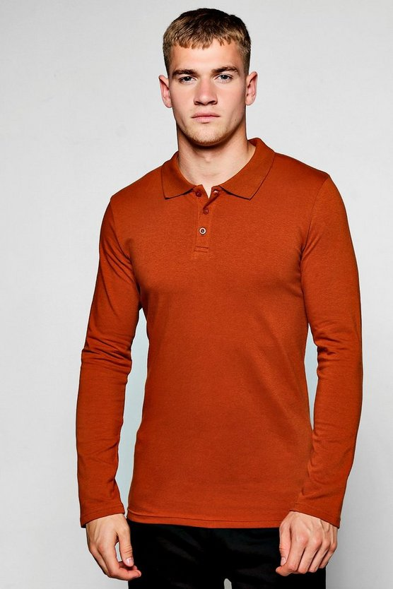 Mens Long Sleeve Muscle Fit Polo
