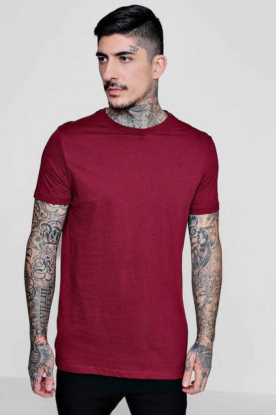 Mens Burgundy Longline Crew Neck T-Shirt