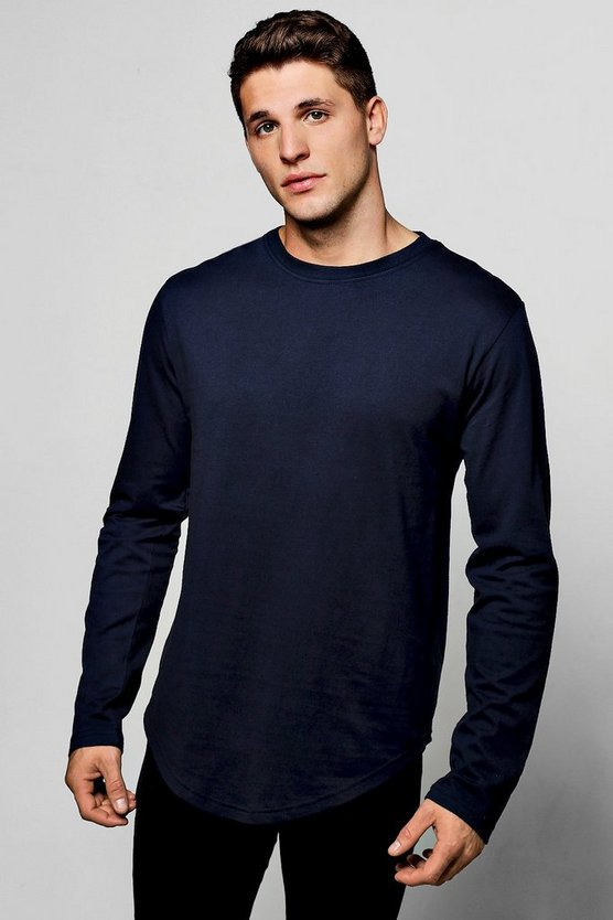 Long Sleeve Longline Scoop Hem T-Shirt