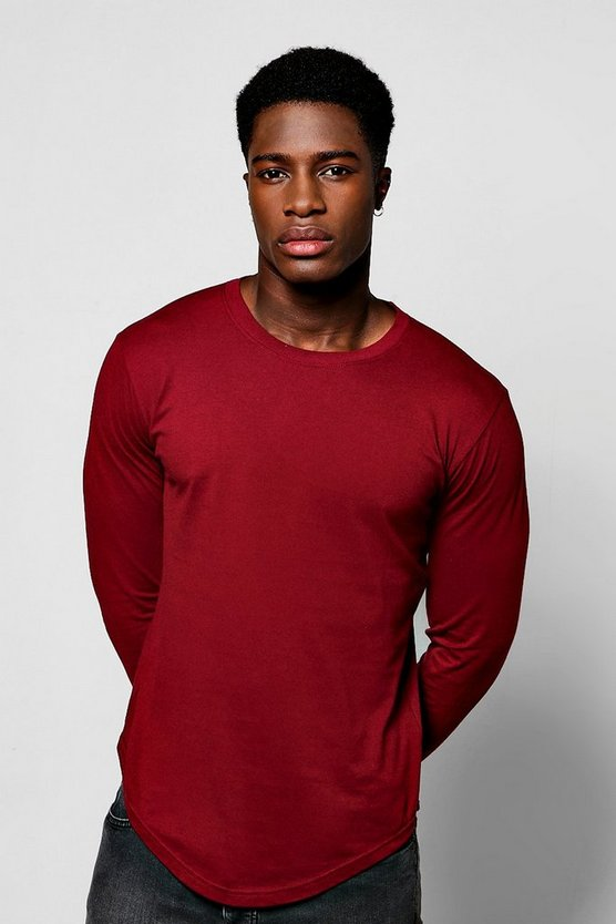 Long Sleeve Longline Scoop Hem T-Shirt, Burgundy, Uomo