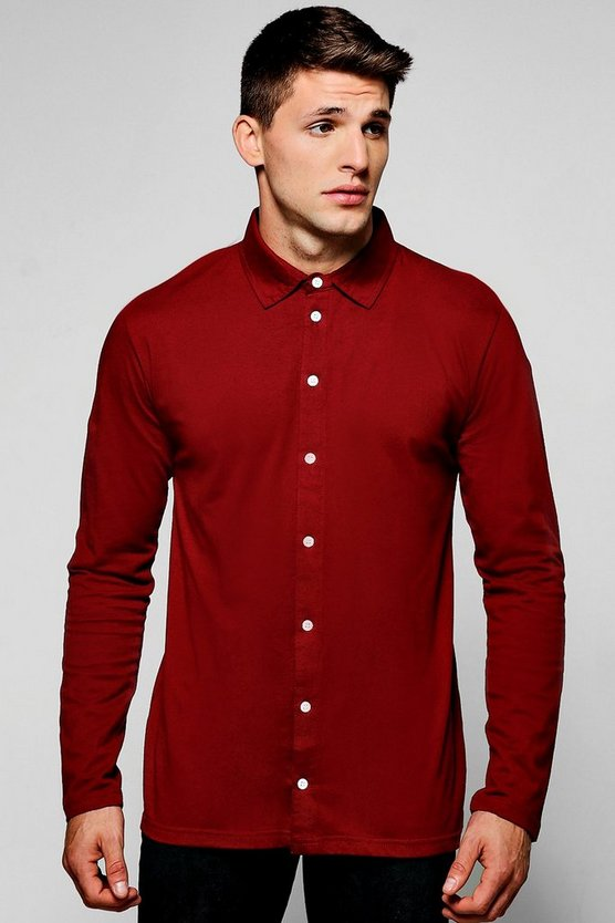 Mens Burgundy Long Sleeve Jersey Shirt