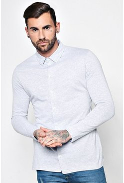 Mens Grey Long Sleeve Jersey Shirt