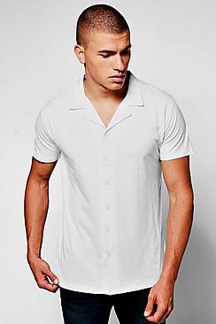 1940s Style Mens Shirts Jersey Revere Collar Short Sleeve Shirt $23.00 AT vintagedancer.com
