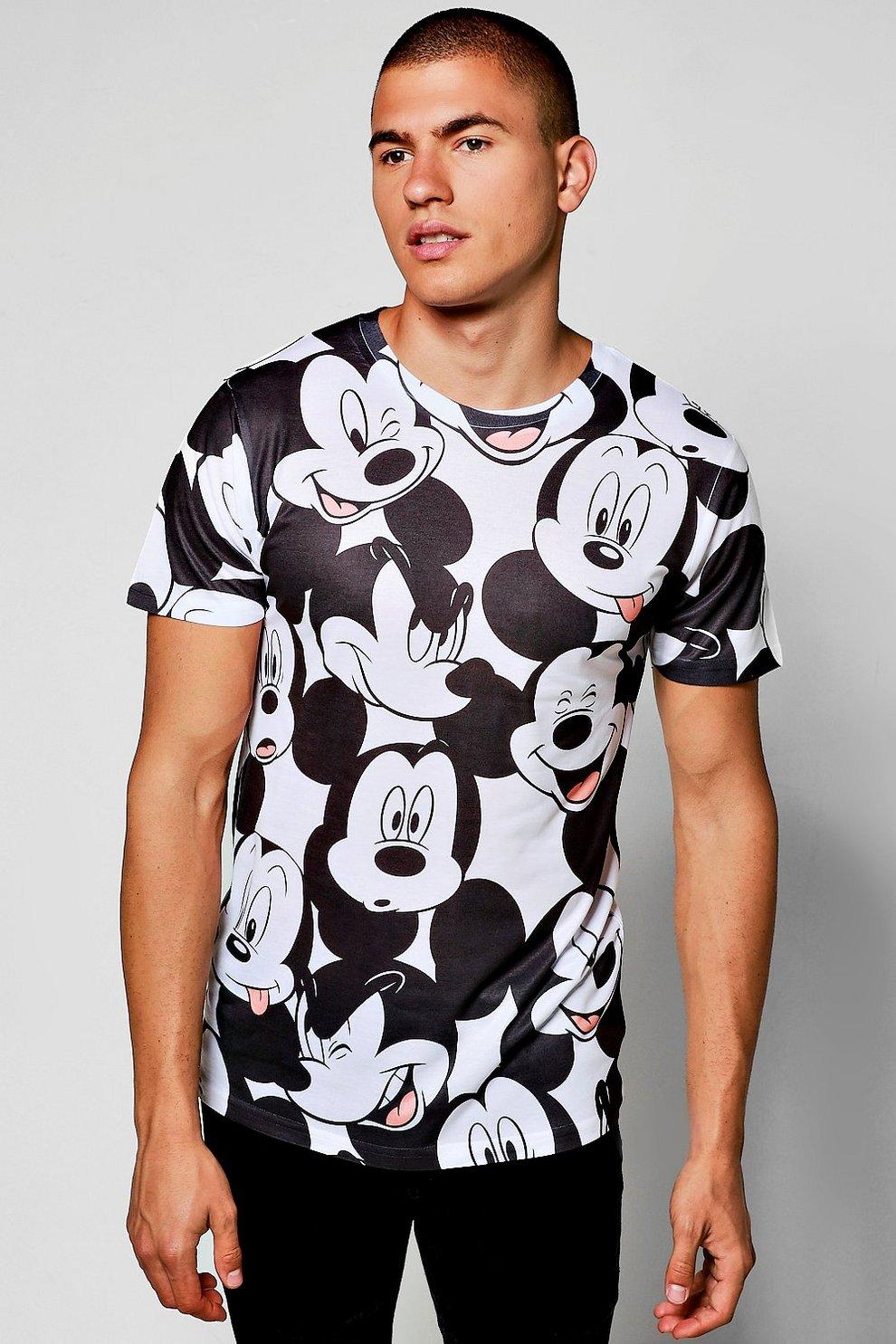 Disney All Over Mickey Sublimation Print T Shirt Boohoo
