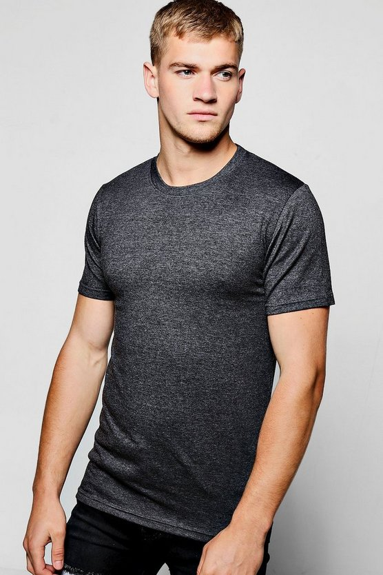 Mens Charcoal Muscle Fit Crew Neck T Shirt