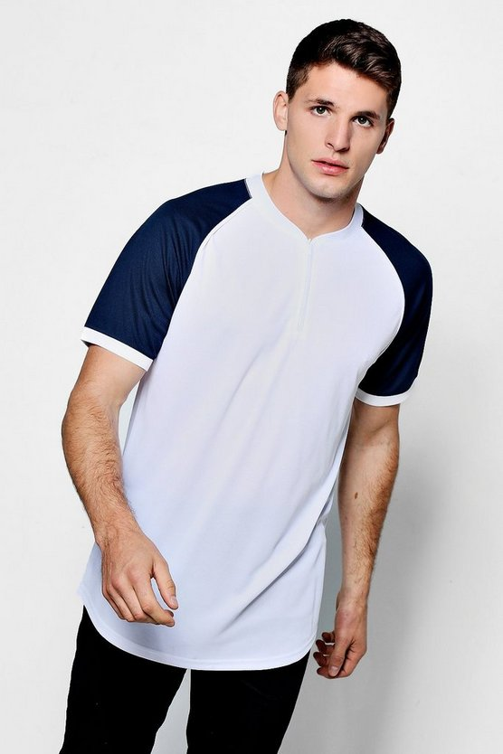 White Raglan Sleeve Print T-Shirt