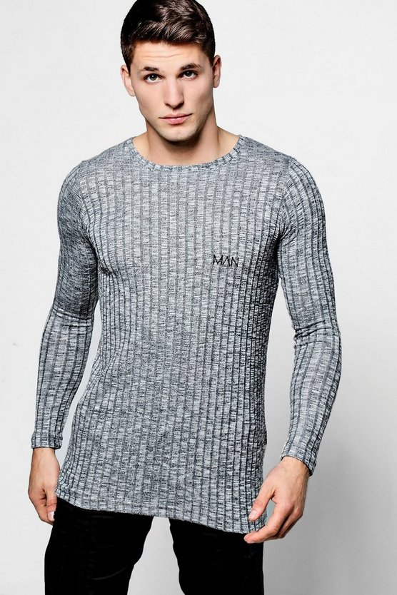 Grey Long Sleeve Muscle Fit Ribbed T-Shirt