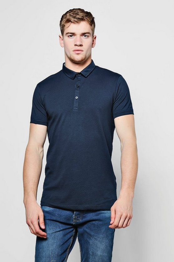Mens Navy Classic Jersey Polo T-Shirt