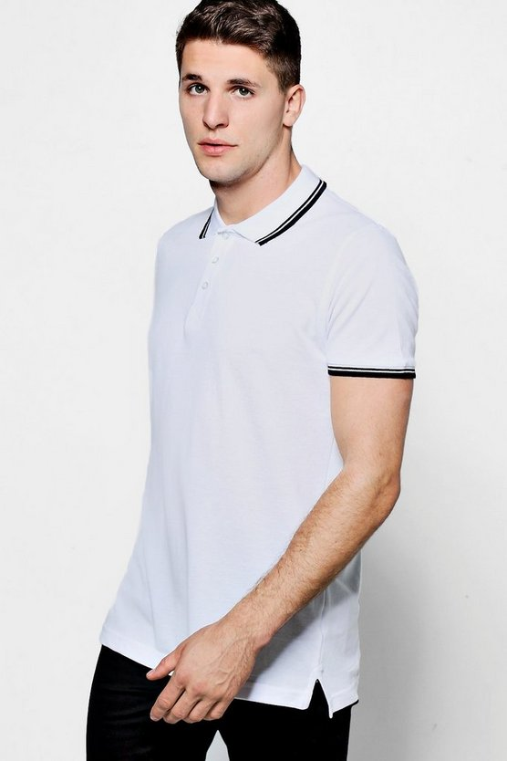 Short Sleeve Pique Polo With Tipping Detail, White, Uomo