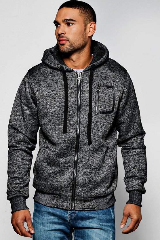 Zip Through Hoodie With Borg Lining