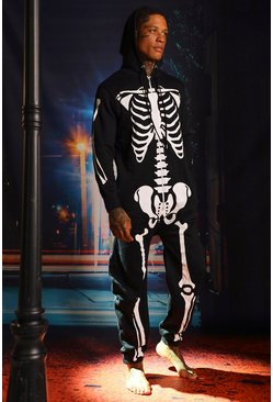 Halloween Black Skeleton Onesies, Uomo