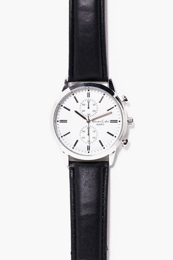 Multi Face Leather Strap Watch