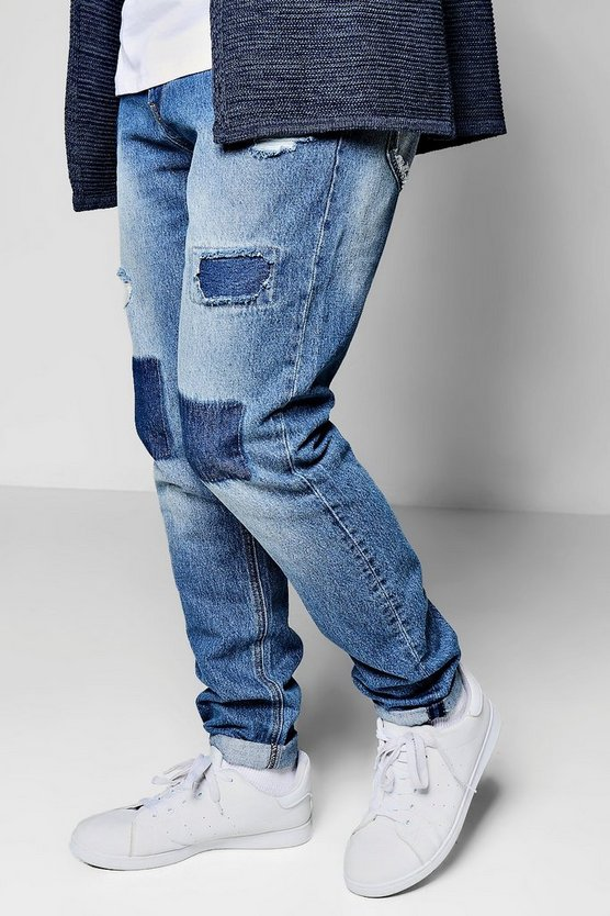 Mid Blue Tonal Patchwork Jean In Tapered