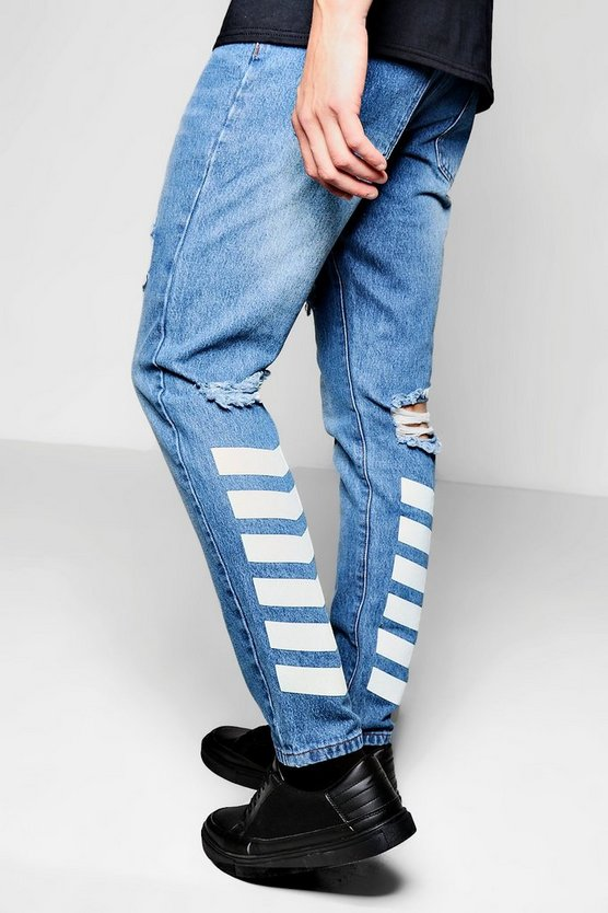 Mid Blue Chevron Print Jeans In Slim Fit