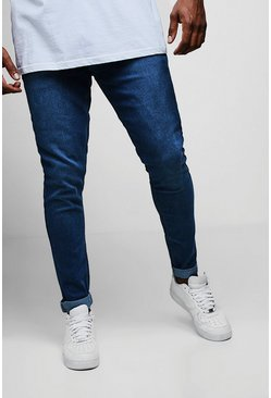 Big And Tall Blue Slim Fit Washed Jeans, Uomo