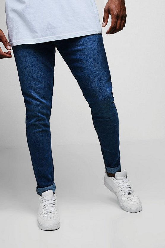 Mens Blue Big And Tall Blue Slim Fit Washed Jeans