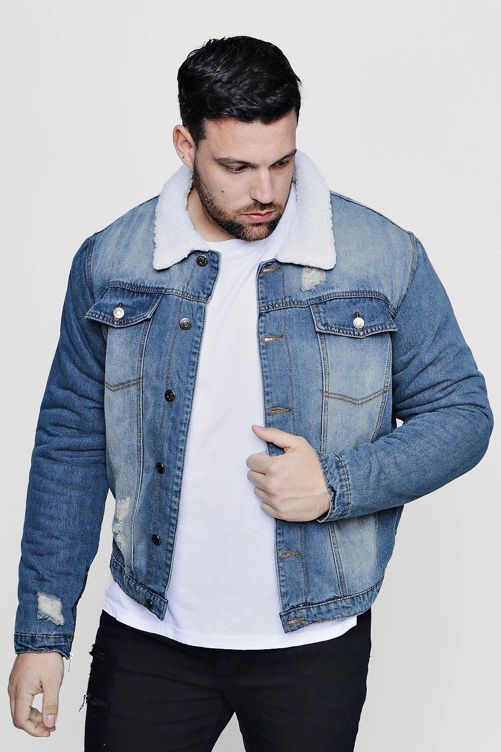d9b13d7782ee Big And Tall Borg Lined Blue Denim Jacket | Boohoo