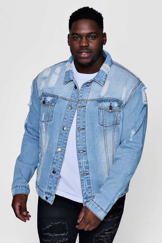Big And Tall Blue Washed Distressed Denim
