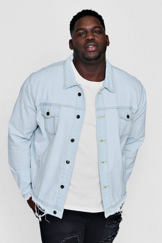 Big And Tall Pale Blue Washed Distressed Denim Jacket