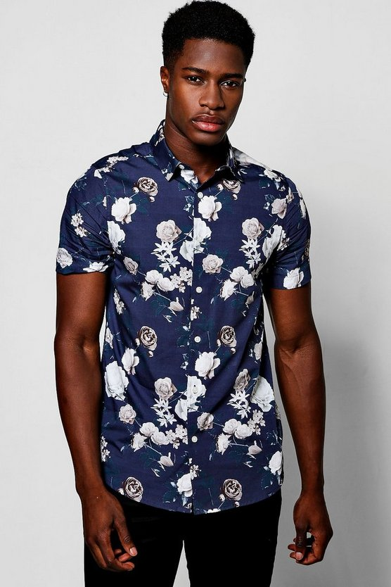 Mens Navy Rose Print Short Sleeve Shirt