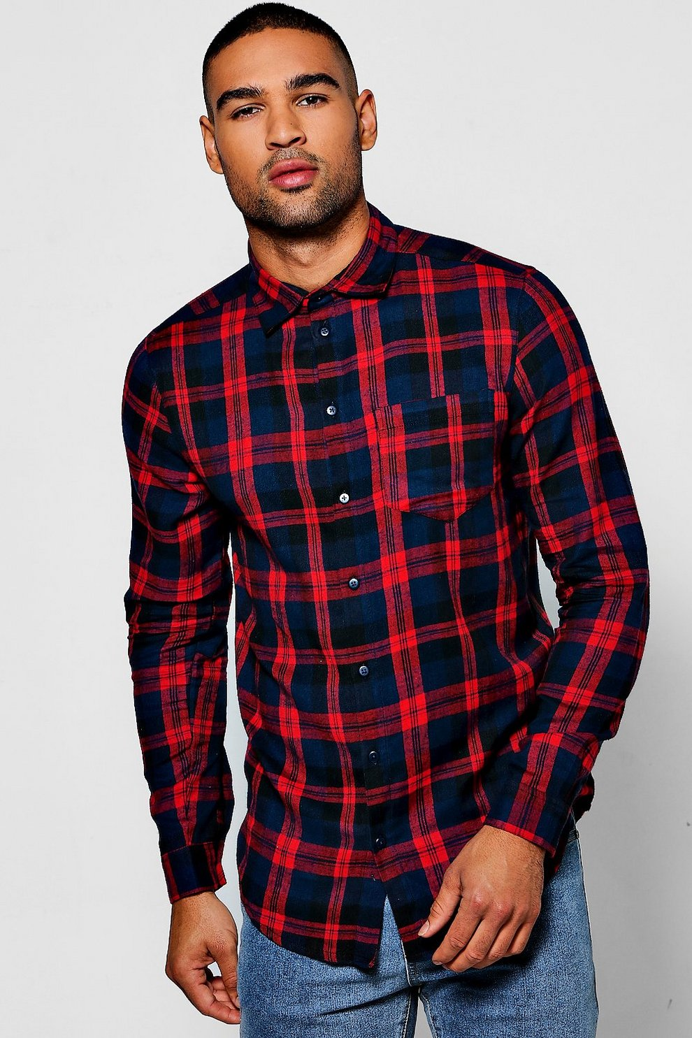 b73a4c5499da24 camicia rossa a quadri con maniche lunghe   Boohoo