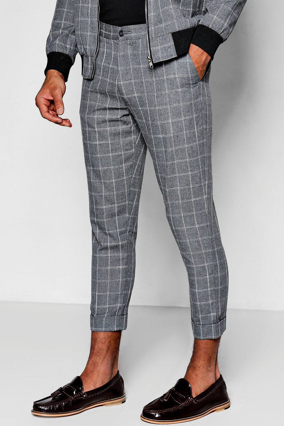 1530844641ac Windowpane Check Cropped Tailored Trousers | Boohoo