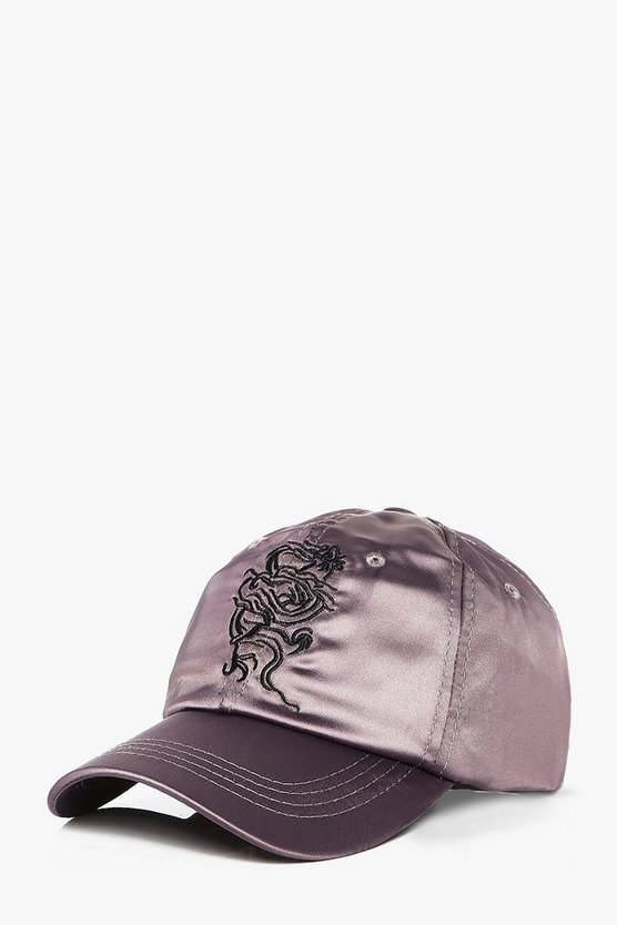 Dragon Embroidered Satin Cap