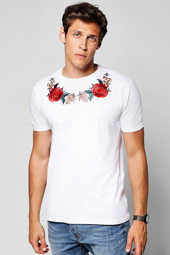 Twin Rose Neck Embroidered T-Shirt